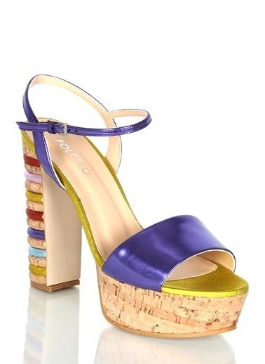 Poletto Kalın Topuklu Sandalet Mor